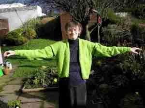 Lime green cardigan Dale of Norway Heilo yarn