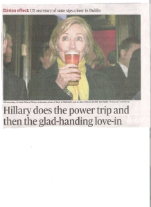 Hillary Clinton in Dublin Irish Times Oct. 12