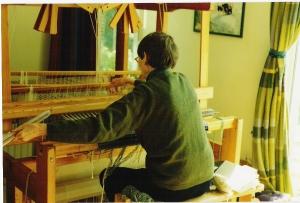 close up of janet at loom April 04