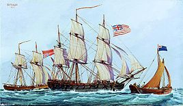 Continental ship Columbus with captured British brig Lord Lifford, 1776