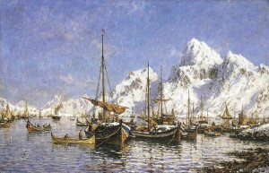 Painting Fishing Boats Lofoten Islands