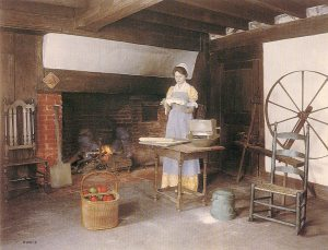staged enbroidery and spinning wheel