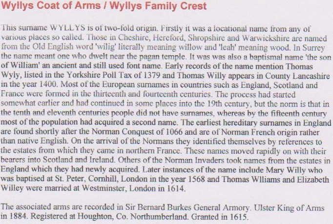 Wyllys Surname