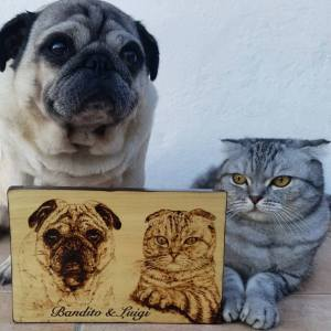 Wood Art Pug and Cat