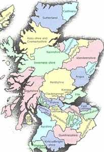 Scotland map of shires